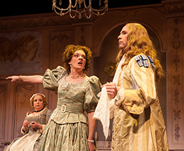 Debra Wagoner as Dorine, Amaree Cluff as Mariane and Brad Fraizer as Valère. Photo by Aaron Sutten.