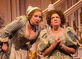 Debra Wagoner as Dorine and Amaree Cluff as Mariane. Photo by Aaron Sutten.